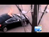 Naked man jumps into female drivers sunroof