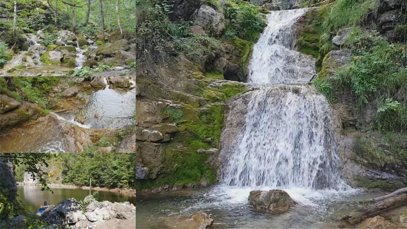 Каскад водопадов на ручье Климений. Юмагузинское водохранилище.