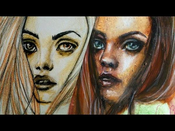 Watercolor portrait Speed painting art