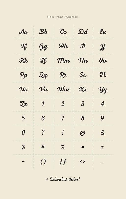 Шрифт nexascript
