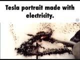 Drawing Tesla Portrait with electricity