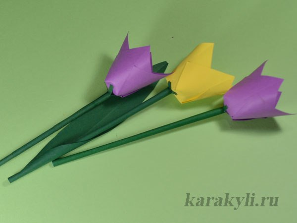 Простой объемный тюльпан из