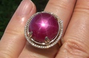 Certified Jewelry Natural Red Star Ruby Diamond 14k Yellow Gold Cocktail Estate Ring - C590
