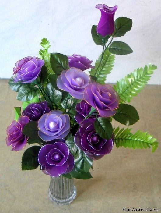 Цветы из капроновых лент своими руками мастер клас