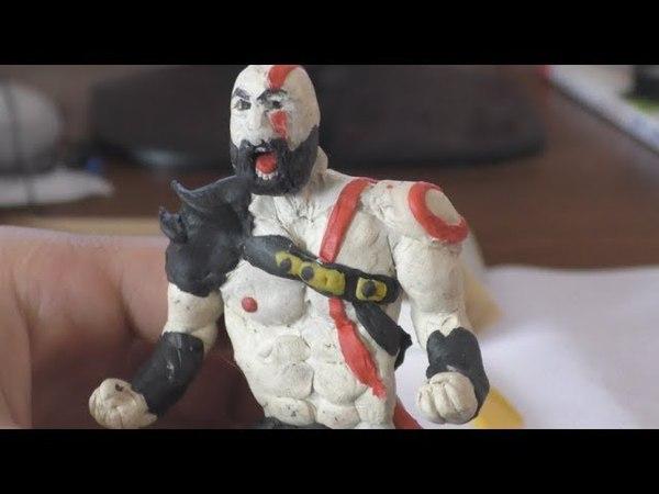 God of war 4 Kratos игрушка из пластилина по мотивам игры