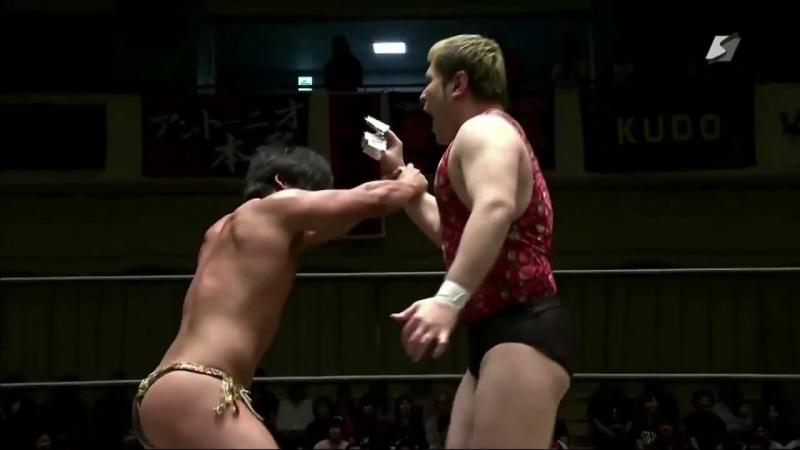 Antonio Honda, Danshoku Dino, Super Sasadango Machine vs. Daiki Shimomura, Nobuhiro Shimatani, Makoto Oishi (DDT - Audience 2018