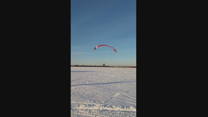 Взлёт паралета на лыжах