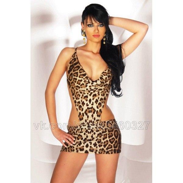 Платья открытое леопардовое платье