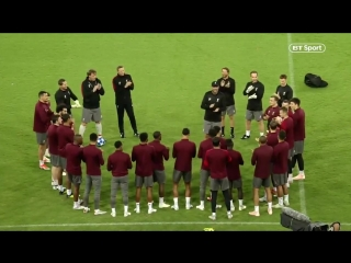 Jürgen Klopp stops Liverpool training in Naples to mark two of his players birthdays.