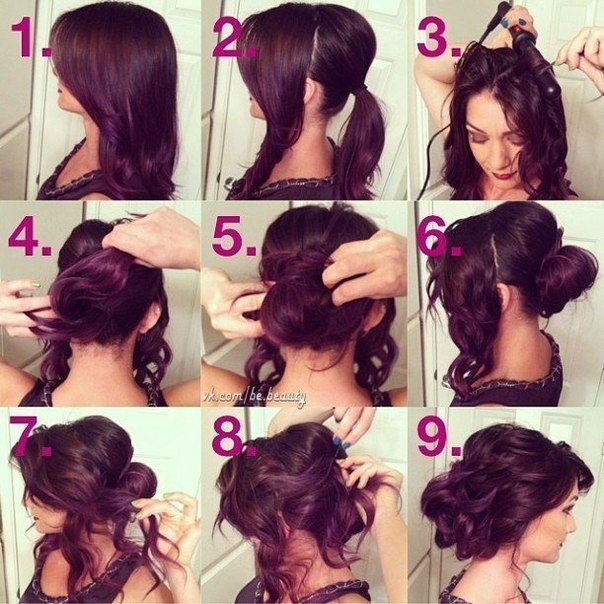 Локоны на средние волосы фото своими руками