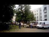 Луганская ОГА после обстрела ракетой от украинского самолета. 02.06.2014