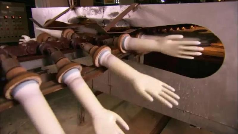 Процесс изготовления резиновых перчаток