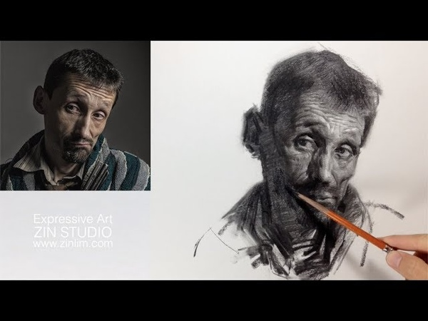 Charcoal Drawing Demo Impressionism Portrait.