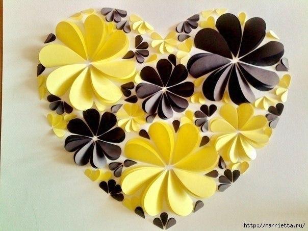 Оригинальные 3D панно с аппликацией сердца из бумаги.