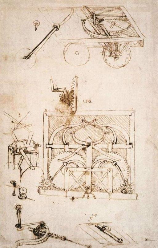 Креслення першого автомобіля Леонардо Да Вінчі