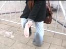 Hippy Girl Celeste walks Barefoot in the Snow
