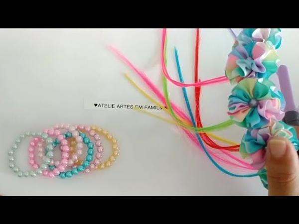 Coroa de flor candy colors kit pulseirinhas