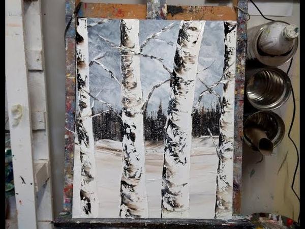 Cours de peinture au couteau Les arbres sous la neige par Nelly LESTRADE