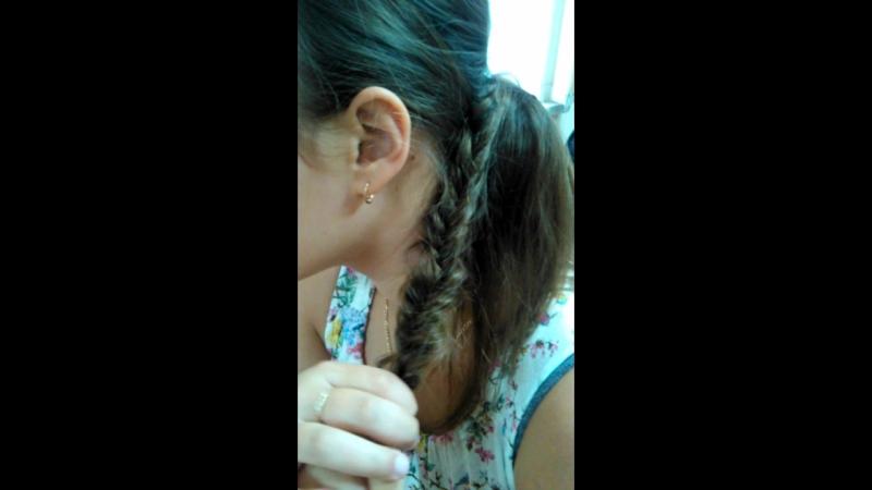 прическа из кос на себе