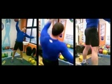 Ivan Denisov demonstrates his kettlebell snatch technique with the 32 kg kettlebell