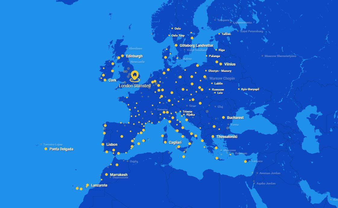 Инфографика: карта полетов Ryanair