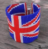 браслет из бисера с британским флагом http://www.anabel27.com.
