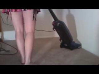 girl vacuuming in stockings and then bare feet