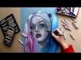 SUICIDE SQUAD - Harley Quinn ART (сухие пастельные мелки)