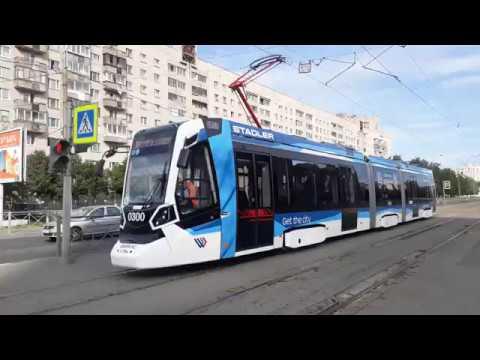 Трамвай новой модели СПБ Stadler B85300М Метелица борт 0300 по маршруту 58 Проспект Просвещения