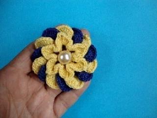Crochet flower pattern Вязаные крючком цветы -  Объёмный цветок