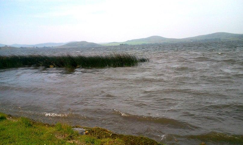 Озеро Белое в ветреную погоду
