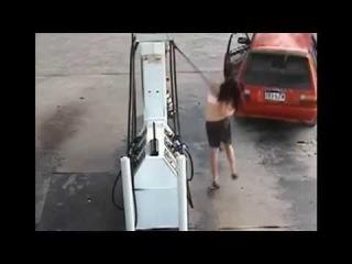 [FULL] Runaway Car RIPS Hose From GUSHING Petrol Pump