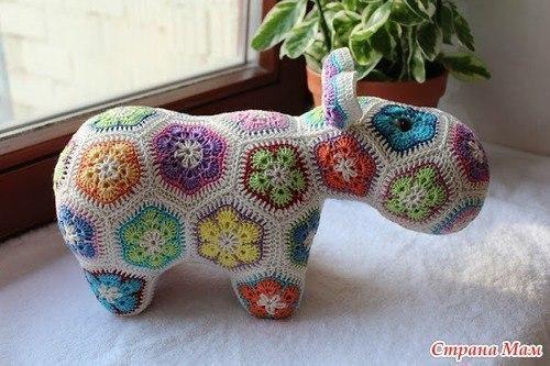 Вяжем Цветочного Бегемота. (8 фото) - картинка