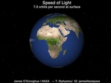 Speed of light around Earth - 7.5 orbitssecond at the surface (by James O'DonoghueNASA)