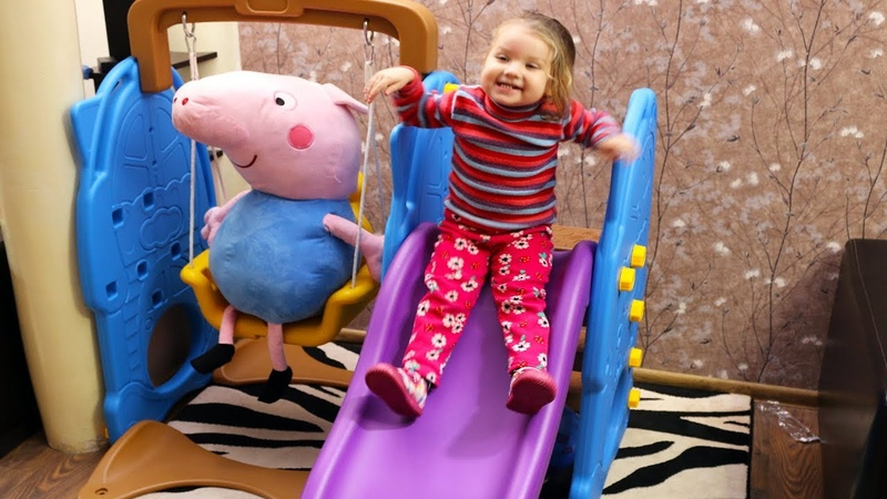 Lile Gets Indoor Slide and Swing Toy as a Present and playing with Peppa Pig Nursery Rhymes