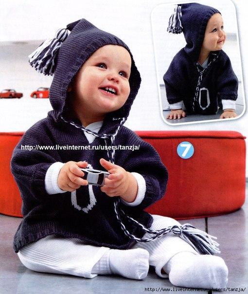 Темно-синий джемпер с капюшоном для малыша спицы ….. (3 фото)
