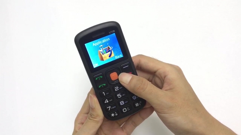 UNIWA V708 unboxing video старший сотовый телефон SOS Большой кнопочный ключ с зарядным колыбелью для пожилых людей