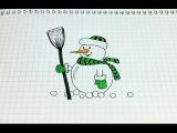 Простые рисунки #162. Как нарисовать снеговика красавчика=)