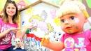 Gül ve Loli duvarı boyuyorlar. Ayşe ile bebek bakma oyunu. Eğitici okul öncesi etkinlikleri