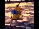Kid Dresses as banana, plays the accordion on a swing and fucking dies