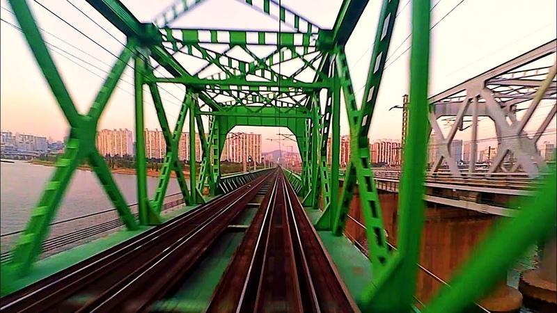 RailWay. Ride from Busan. Train Rear Window View / Поездка на поезде из Пусана Вид из заднего окна