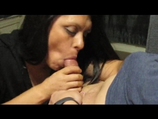 Sexy latina wife sucking friends cock for husband