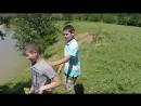 Georgian children swimming in the local river