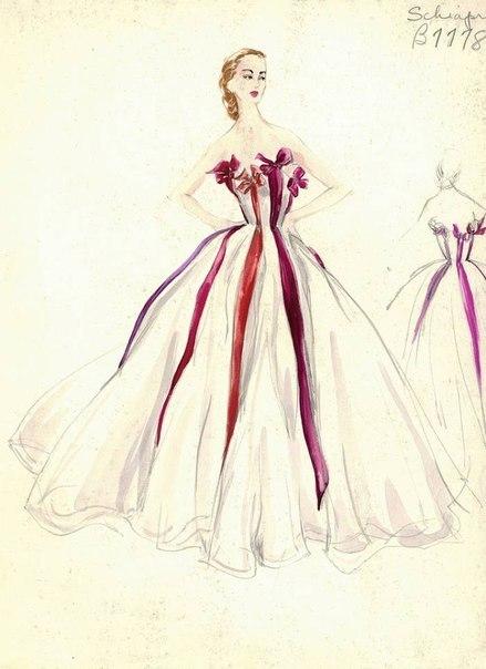 Рисунки модели с платьями