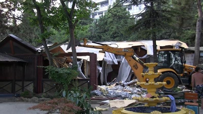 Снос демонтаж сооружений В Алуште снесли кафе 'Дата' prices and
