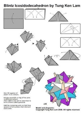 Как поэтапно сделать икосаэдр из бумаги