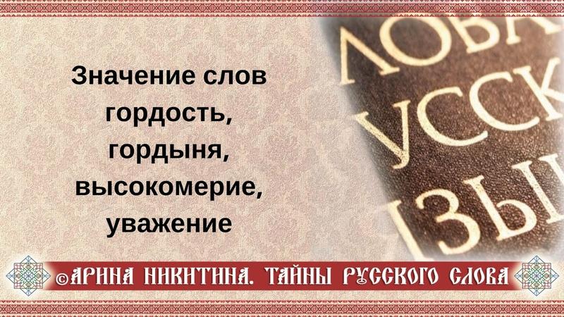 Арина Никитина. Значение слов гордость, гордыня, высокомерие, уважение