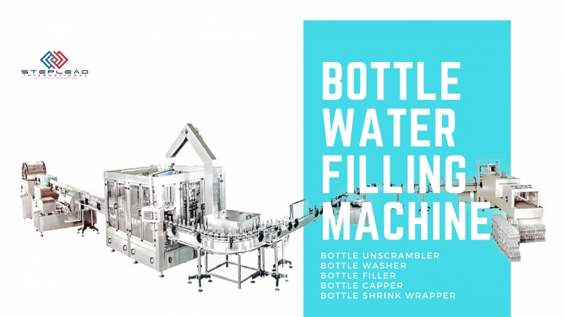 Bottled-water-filling-line-includes-bottle-unscrambler-bottle-air-conveyor-bottle-rinser-bottle-filler-bottle-capper-bottle-shri