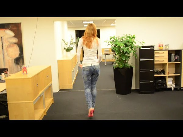 Me trying high heels at the office