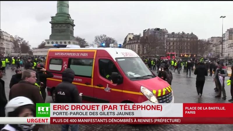 Acte 11 des Gilets jaunes Eric Drouet réagit à la blessure de Jérôme Rodrigues